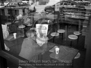 Morning Paper: Bakery in North Beach, San Francisco, CA. Photography by Robert McClintock, Copyright © 2000-2011 by Robert McClintock.
